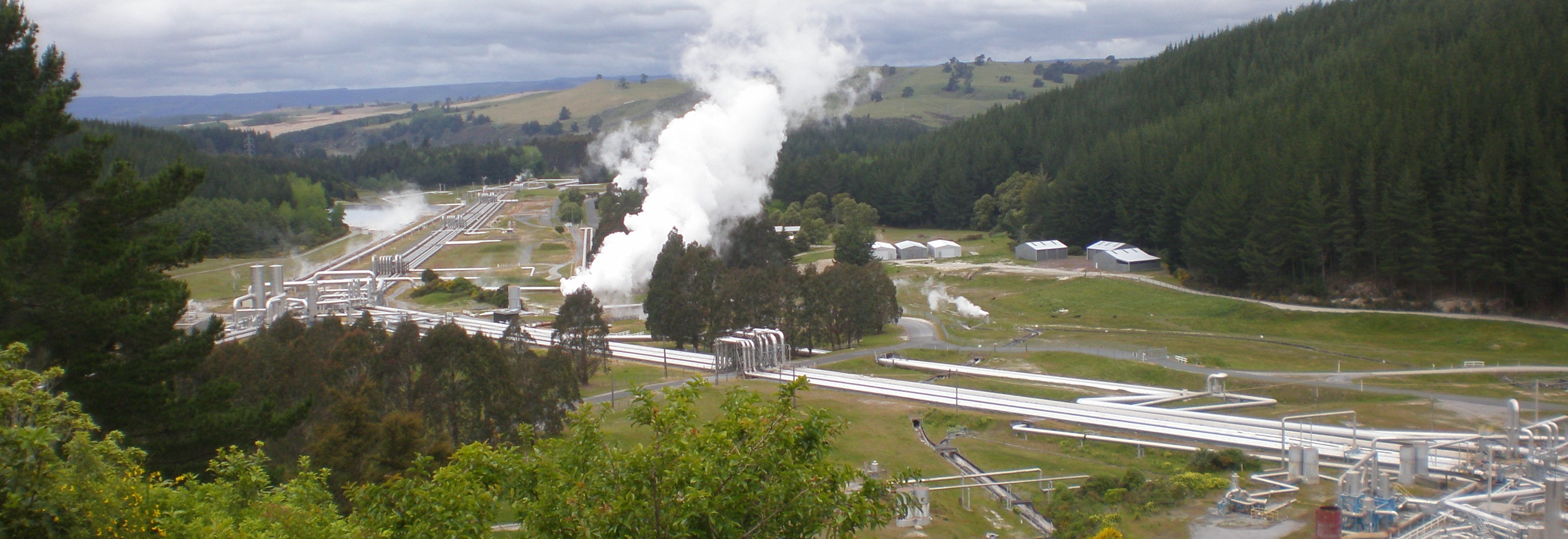 view of geothermal steam field